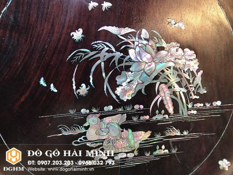 Tranh đĩa khảm sen vịt gỗ cẩm TRA6501