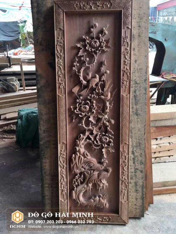 Tranh tứ quý gỗ cẩm đục tay TRA6501