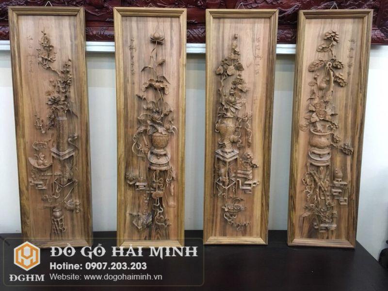 Tranh tứ bình gỗ gụ đục tay TRA1801
