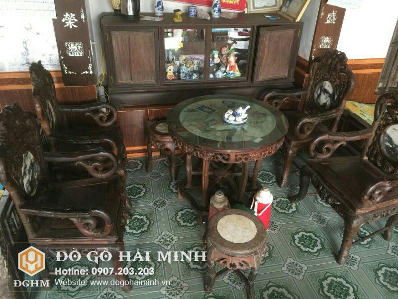 Bộ ghế Salong trúc nho kép gỗ trắc SAL9401
