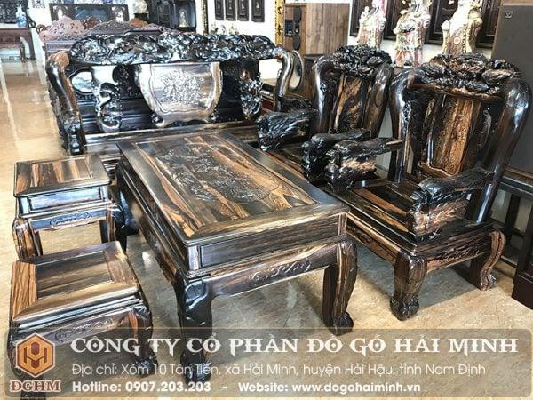 Bộ ghế gỗ mun đuôi công SAL3501
