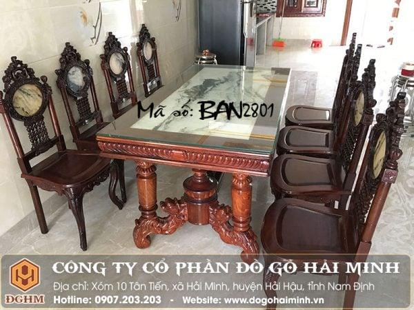 Mẫu bàn ăn đẹp bằng gỗ BAN2801
