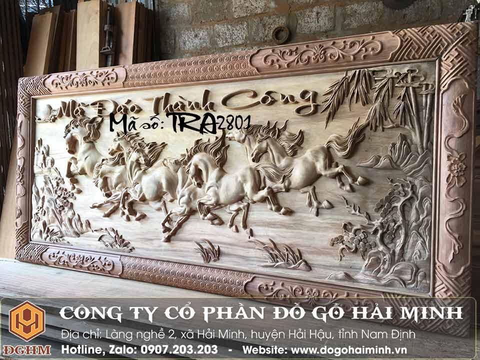tranh gỗ mã đáo thành công gỗ gụ