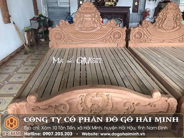 Giường gỗ gõ đỏ GIU6502