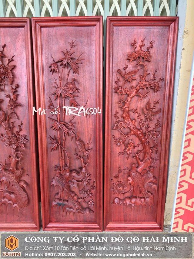 Tranh tứ quý gỗ Hương đỏ TRA6504