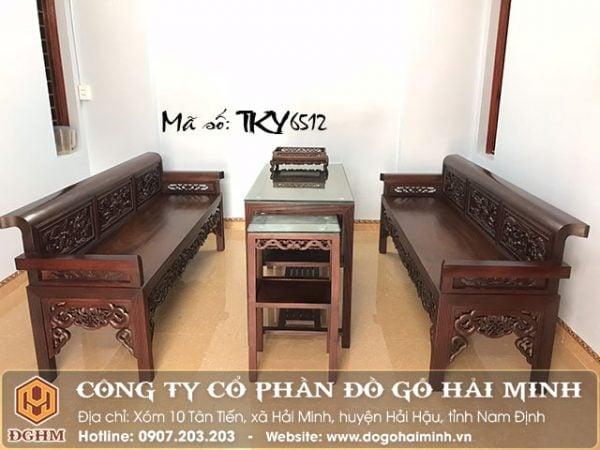 Trường kỷ tứ quý gỗ gụ TKY6512