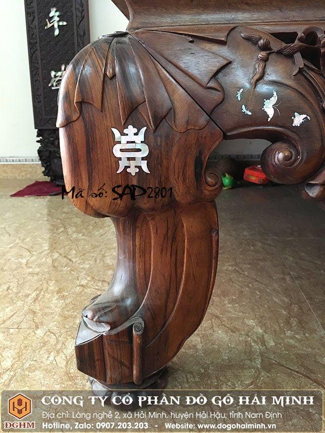 Sập vắt vải gỗ gụ khảm ốc SAP2801