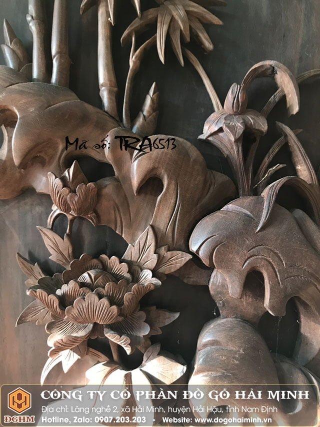 Tranh tứ quý gỗ Trắc TRA6512