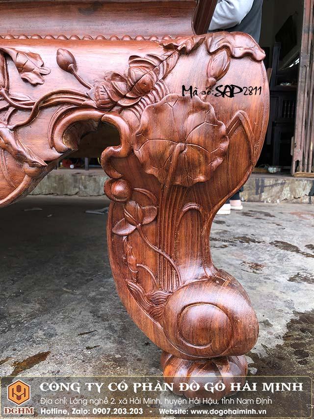 sập gỗ cẩm đục sen vịt
