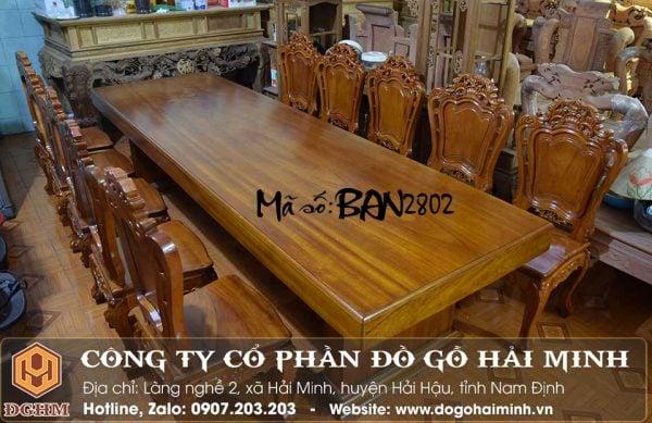 bộ bàn ghế ăn gỗ gõ nguyên tấm