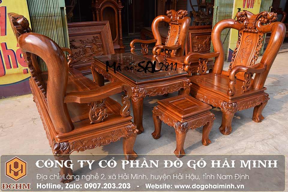bộ bàn ghế minh đào gỗ gụ 06 món tay 10