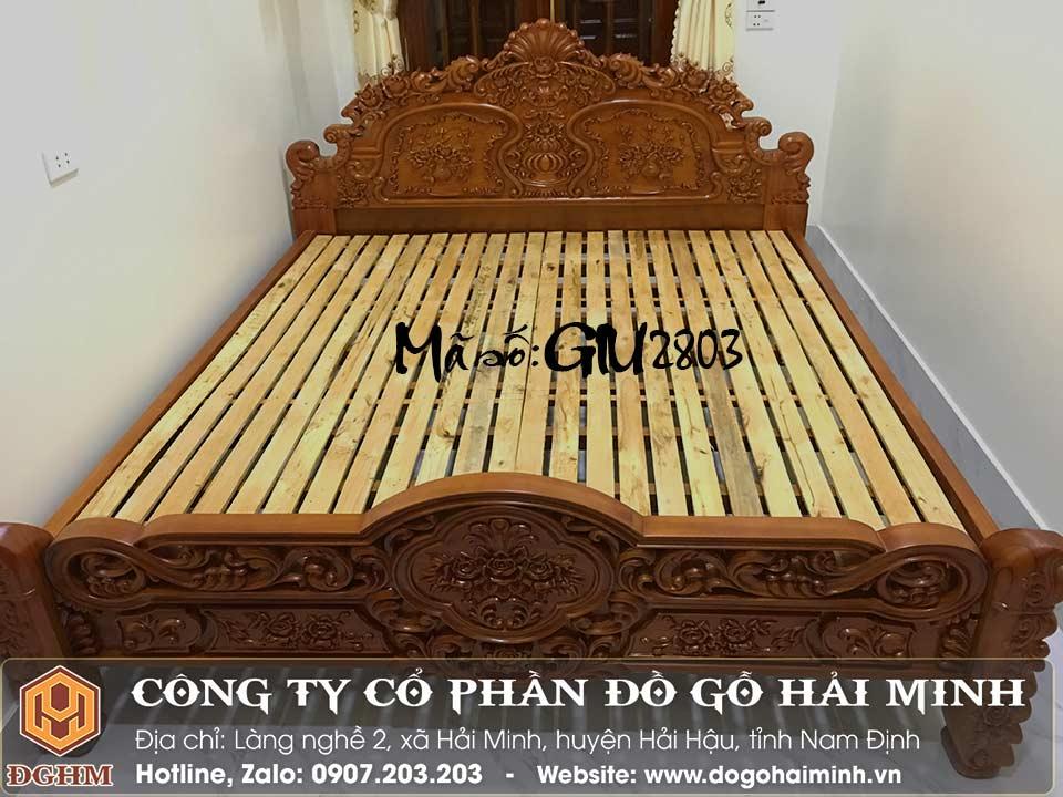 giường hoa hồng gỗ gụ