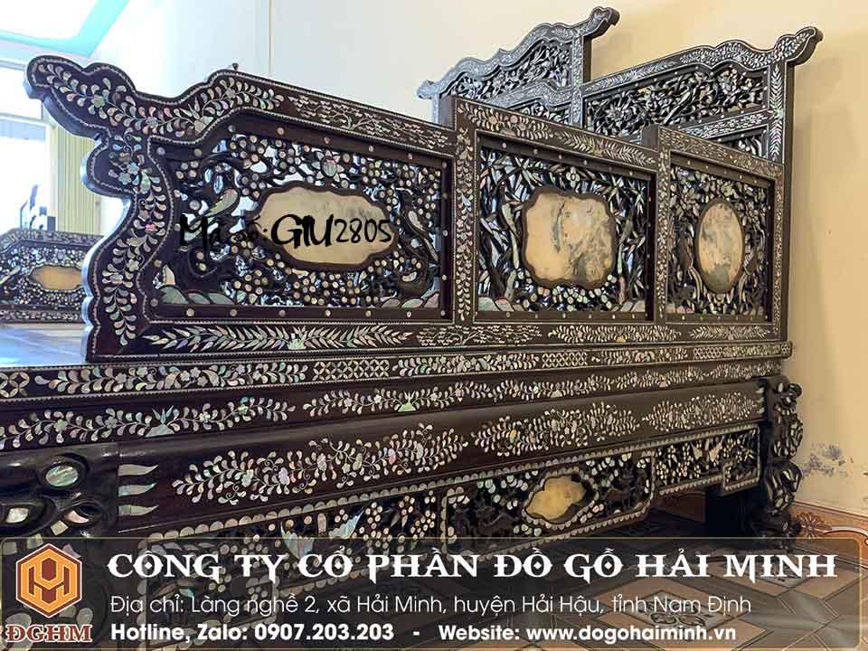giường 3 thành tựa tam sơn khảm ốc