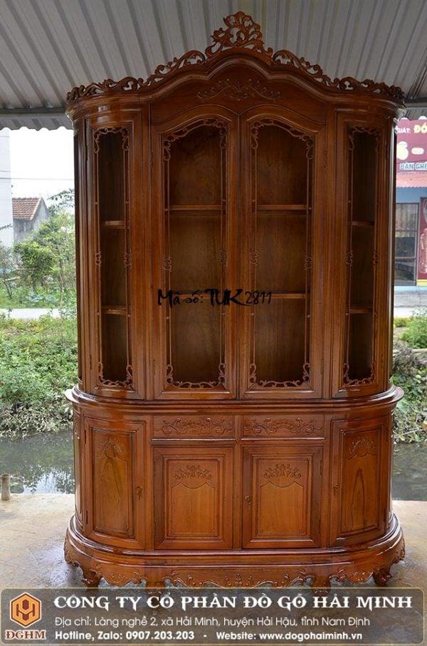 tủ rượu louis kiểu pháp gỗ gụ