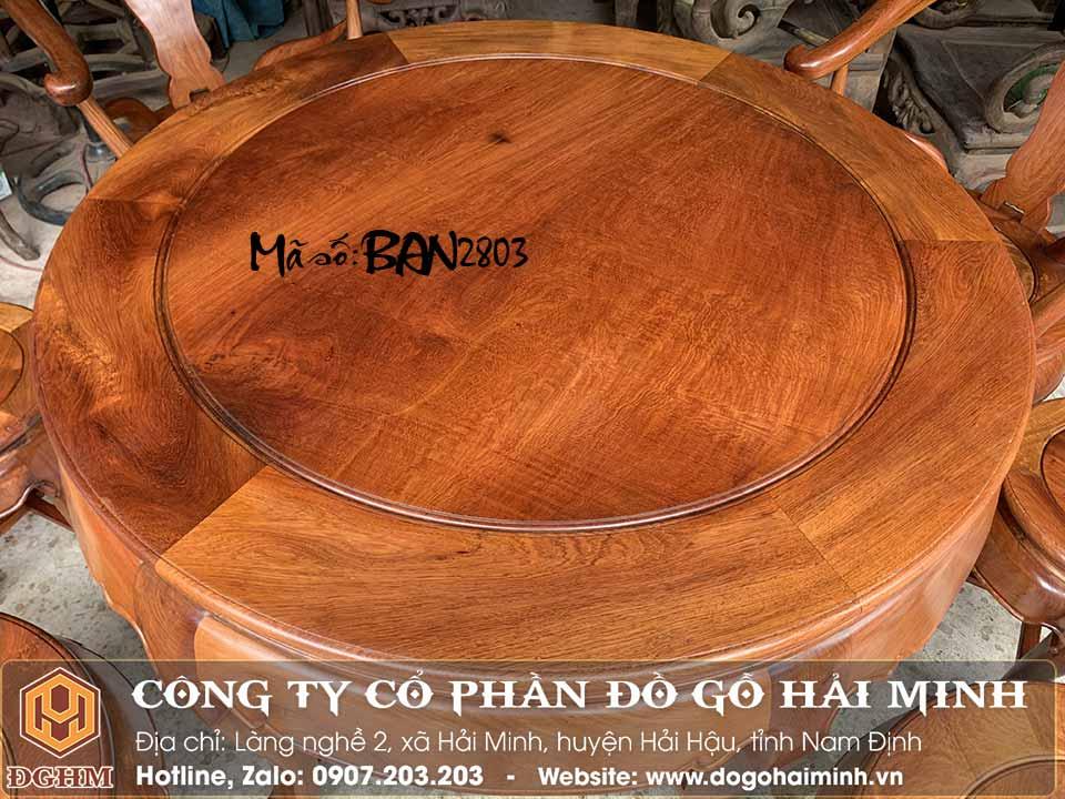 Bàn ăn kiểu bàn tròn gỗ hương