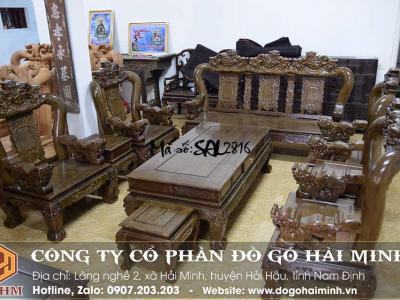 bộ bàn ghế nghê đỉnh gỗ mun