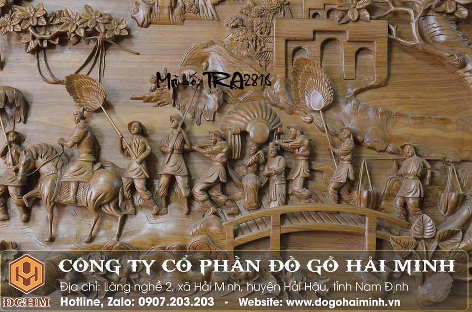 tranh gỗ hải minh đục vinh quy bái tổ