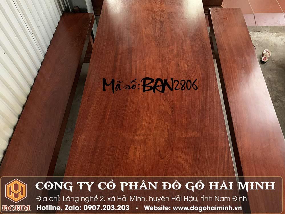 bàn ăn nguyên khối gỗ gõ đỏ