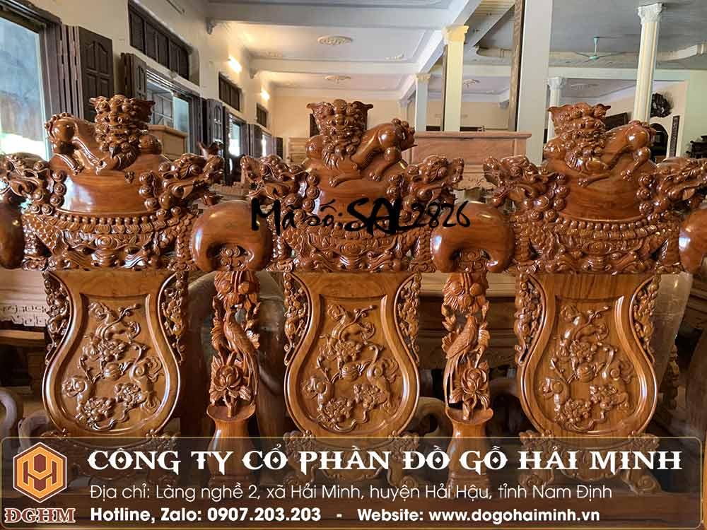 bộ nghê đỉnh tay 16 gỗ cẩm Nam Phi
