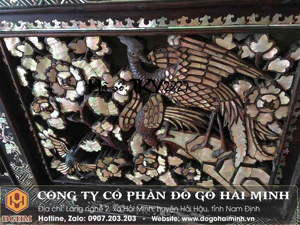 trường kỷ ngũ sơn gỗ cẩm khảm liên chi