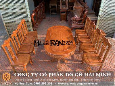 bàn ăn oval 8 ghế gỗ gõ
