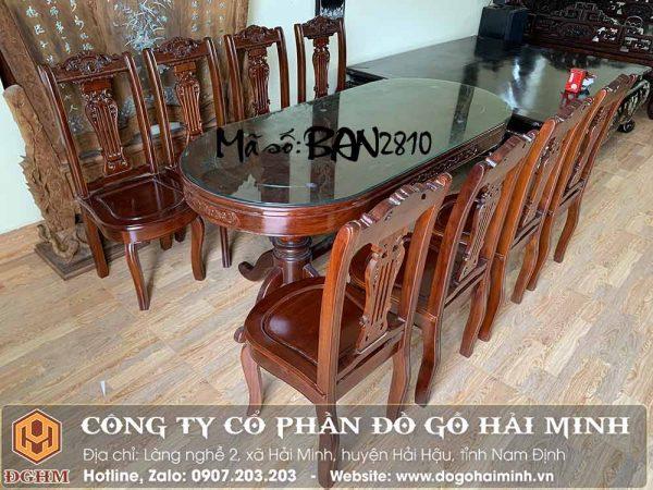 bàn ăn oval gỗ gụ giá rẻ