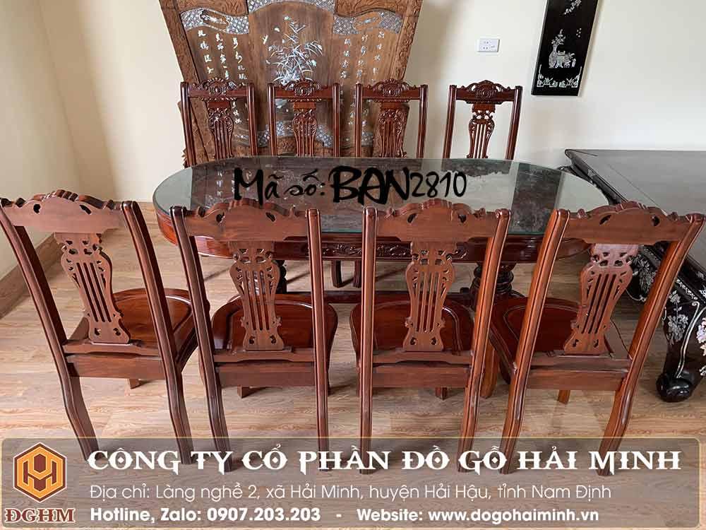 bàn ăn oval 8 ghế