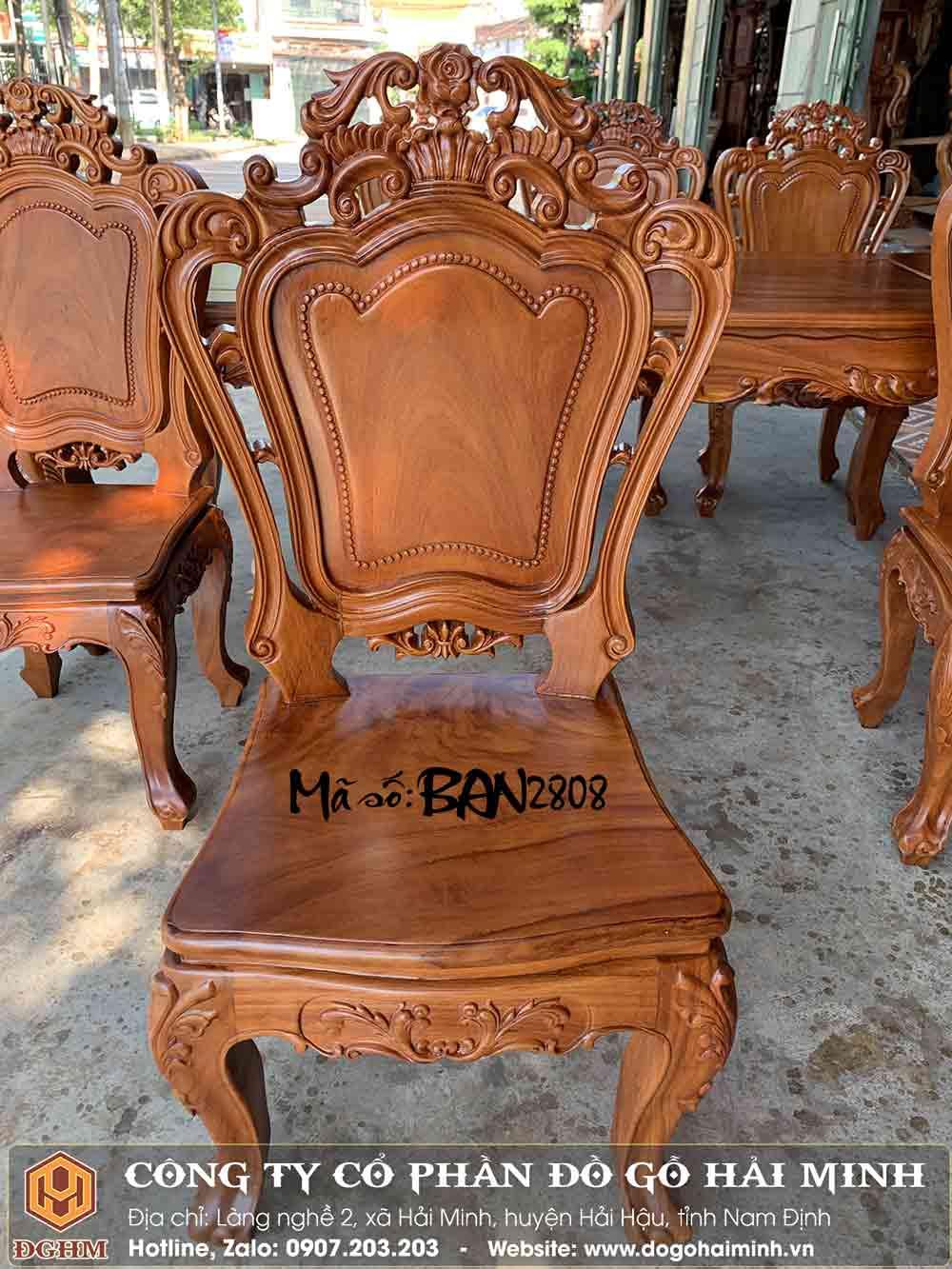 ghế ăn cổ điển gỗ gõ