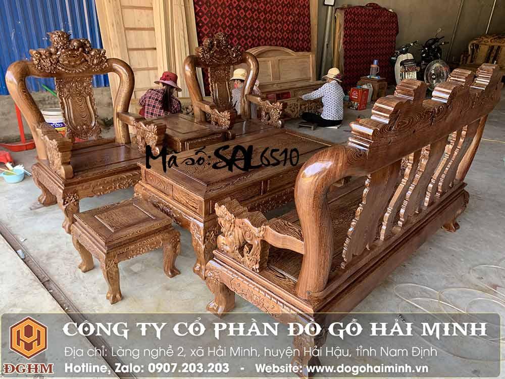 bàn ghế nghê đỉnh tay 12 gỗ mun