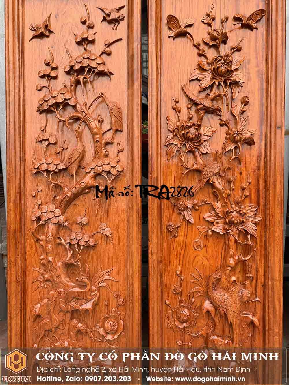 tranh gỗ hương đục tứ quý