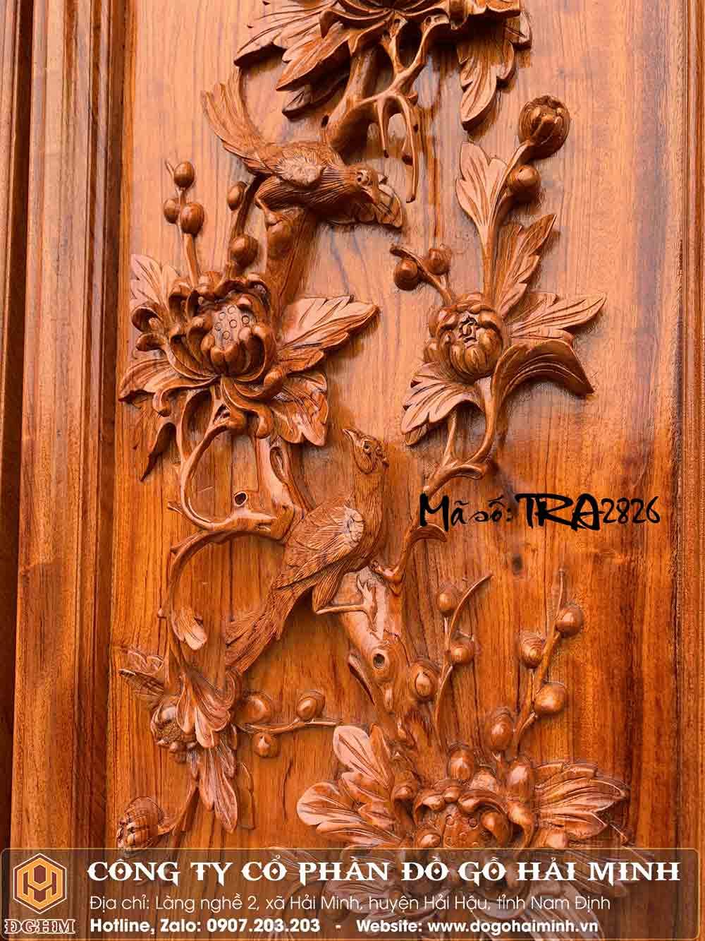 tranh gỗ hương đục cúc