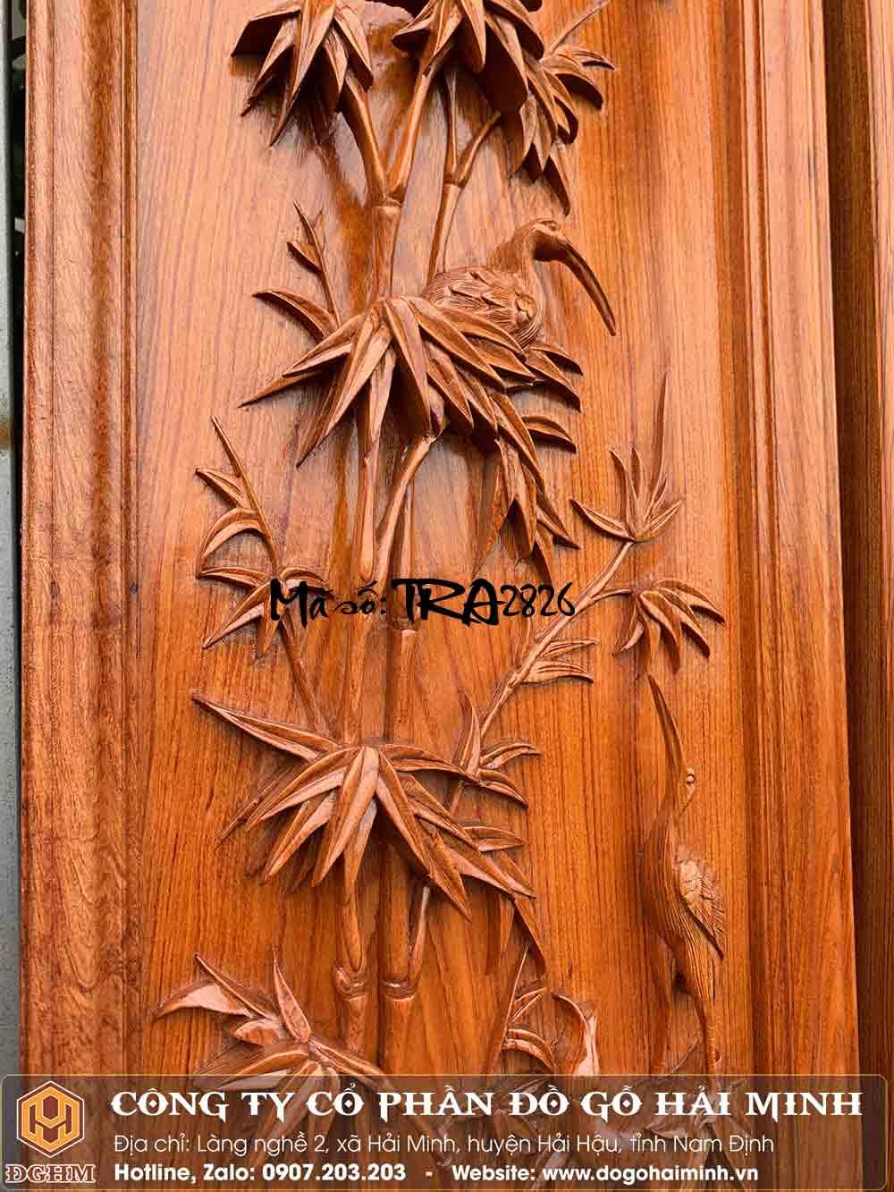 tranh gỗ hương đục trúc