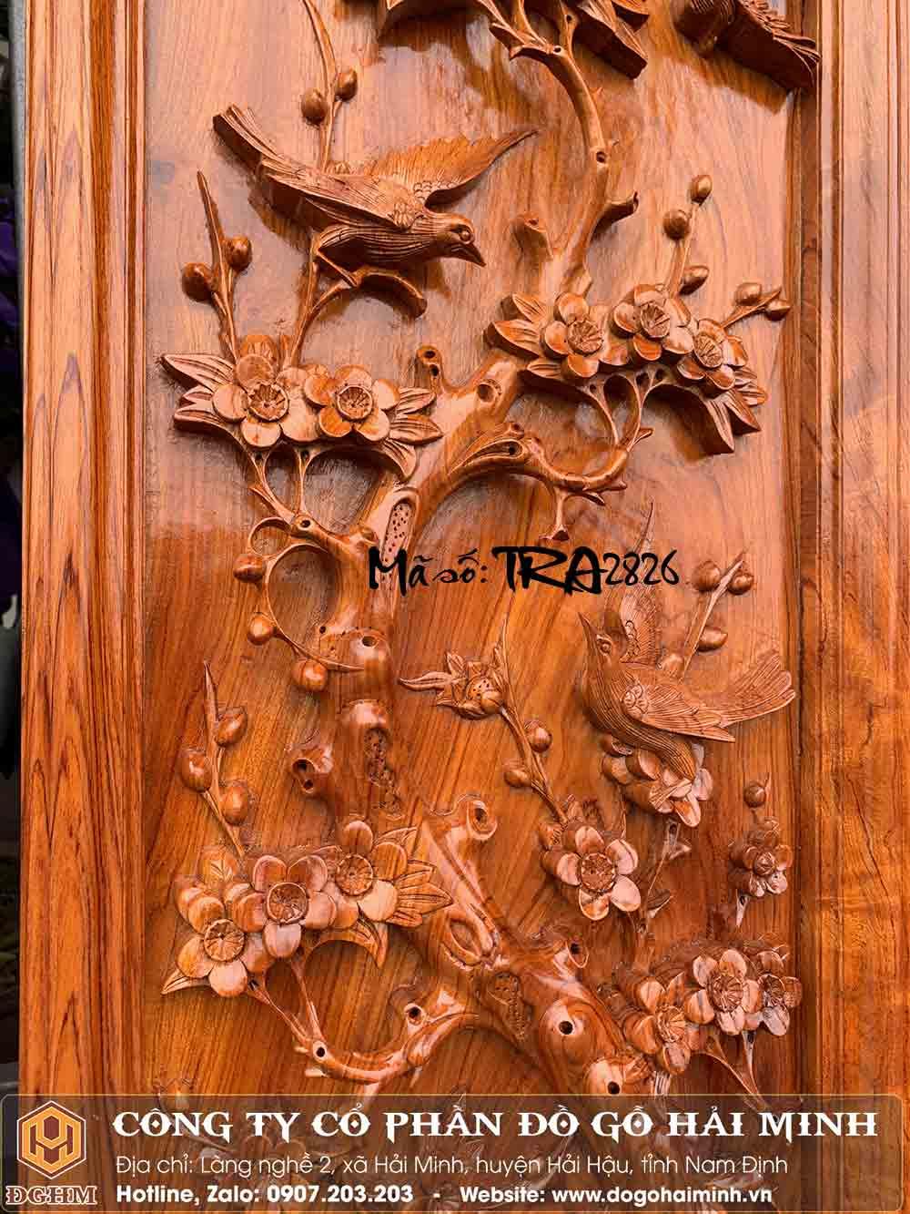 tranh gỗ hương đục mai