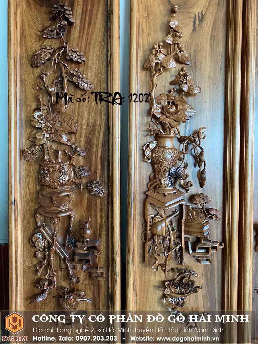 tranh gỗ gụ quảng bình đục tứ bình 4 mùa