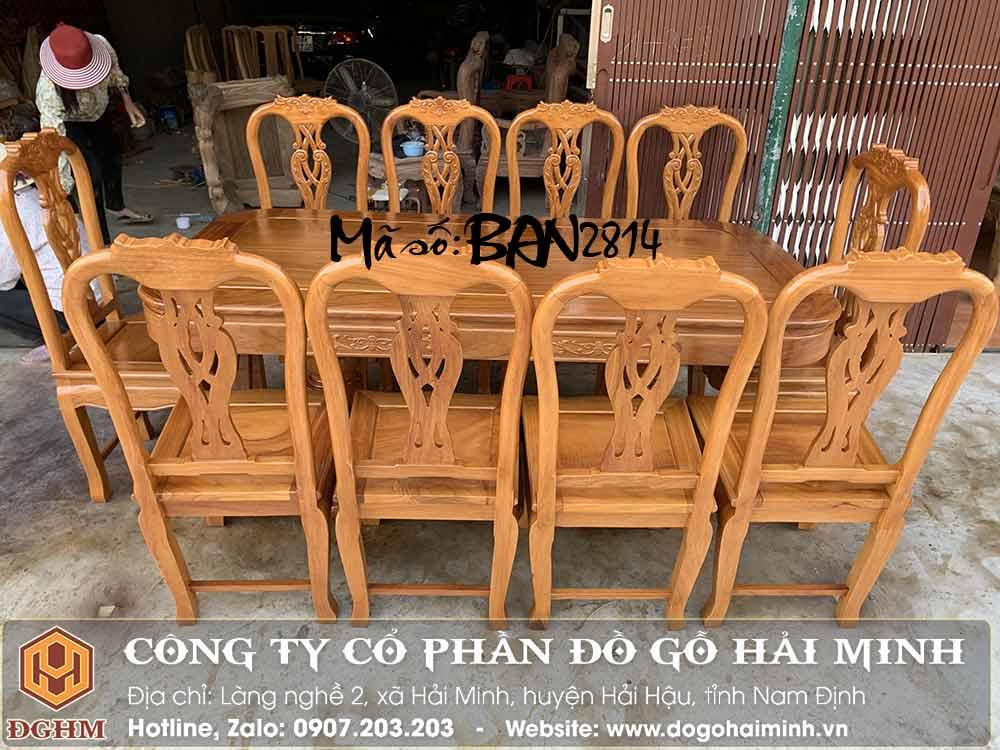 Giá ghế ăn 10 ghế gỗ gõ đỏ