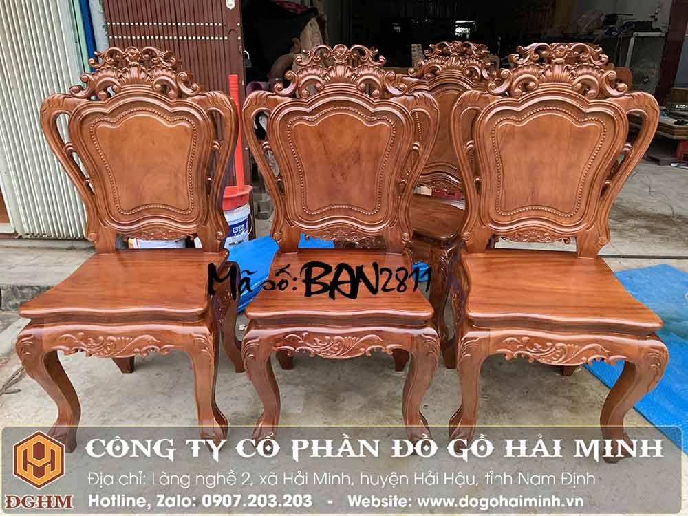 ghế ăn đục hoa lá tây gỗ gõ đỏ