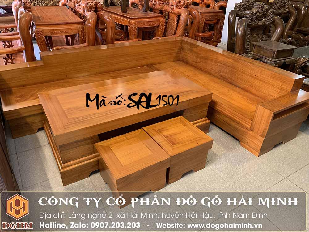 bộ sofa chữ L gỗ gõ đỏ