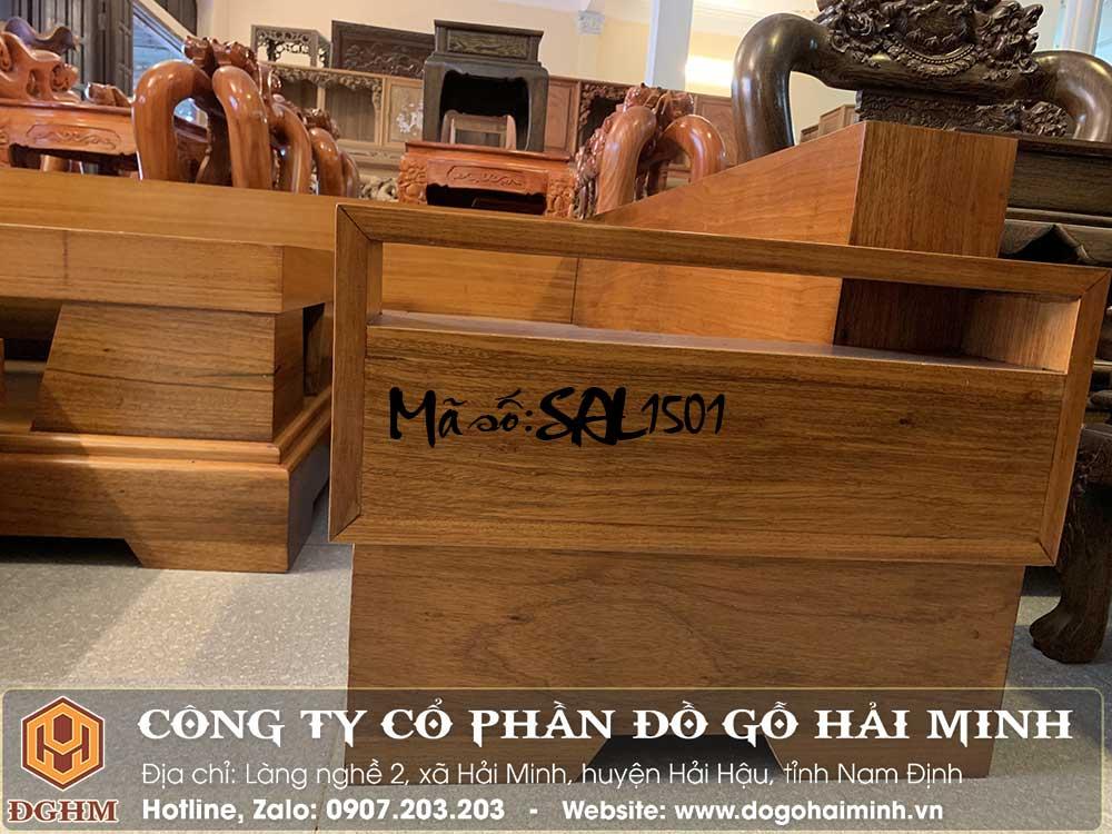 ghế sofa chữ L gỗ gõ