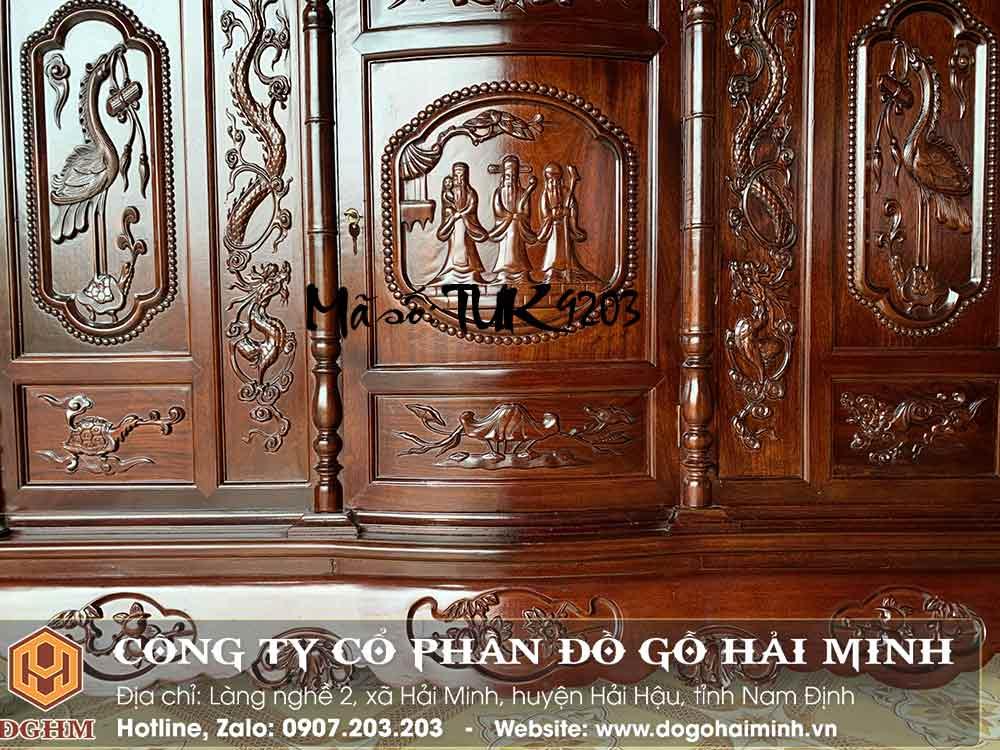 tủ thờ tam đa phúc lộc thọ gỗ gụ giá rẻ